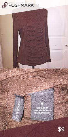 New Directions sweater Chocolate sweater with drape detail in front. Ribbed material. new directions Sweaters
