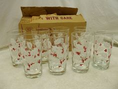 "VTG. BARTLETT-COLLINS 8 PIECE TUMBLER SET! ""HOLLY""! 4 1/2"" (APPROX) TALL! AS IS!"
