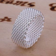 Beautiful Sterling Silver Mesh Net Finger Ring