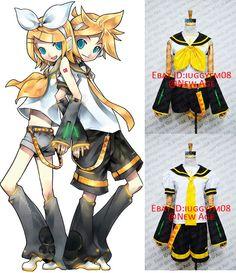 Vocaloid Kagamine Rin Len Format Cosplay Costume White Yellow | eBay