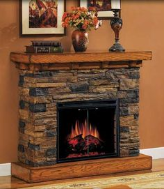 Faux Fireplace Mantels | Classic Flame Flagstone Electric Fireplace - 23WM912-S118