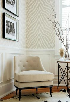 zebra wallpaper-thibaut. Love the color combo. detail of the chair with the black. the hide on the floor. matching ferns. *very specially done*