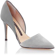 French Connection Elvia Pump ❤ liked on Polyvore featuring shoes, pumps, heels, zapatos, sapatos, grey otter, leather shoes, grey leather pumps, leather pointed toe pumps and gray shoes