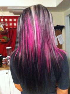 Dark Brown Hair with Blonde and Pink Highlights
