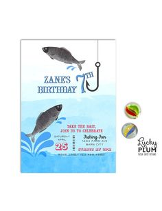 Fish Birthday Invitation Design / A fishy invite for the sea ocean loving munchkin.  Two fishes jumping and splashing out of the water with hook against a blue watercolor ombre background / #Birthday #Invites