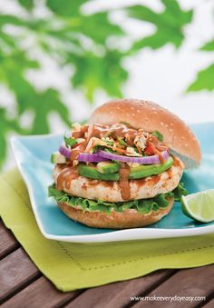 Switch up your BBQ routine with this Thai-inspired twist! Top grilled Janes Ultimate Chicken Burgers with tendrils of shredded carrot, cabbage, bean sprouts and green onion. Drizzle with peanut sauce and serve with lime wedges on the side.