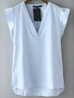 Blue V Neck Short Sleeve Casual Blusas -SheIn(Sheinside) Trendy Dresses, Blue Dresses, Short Dresses, White Lace Shorts, Blue V, Blouse Designs, Shirt Blouses, New Dress, Fashion Outfits