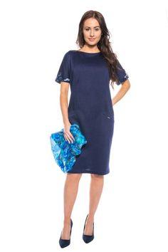 Granatowa sukienka z kieszeniami Quiosque