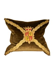 Family Coat of Arms on mohair fabric with antique trim