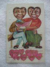 Black Americana Valentine Postcard Man And Woman Sharing Watermelon