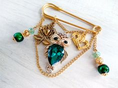 Brooch the pin of an owl. A gold pin from the evil eye. Safety pin jewelry. Brooch pin with owl pendant in a single copy. Rose pendant. by AdornmentTala on Etsy