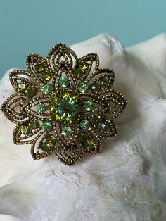 Green Rhinestone Flower Brooch Wedding Bouquet by PassingTides