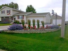 Catmint, roses, and ornamental grasses help to brighten this driveway