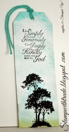 Serene Silhouette and Trust God Stampin' Up! stamps used to make bookmarks with angled tag topper punch and thick baker's twine.