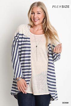 Denim Striped Cardigan Sweater