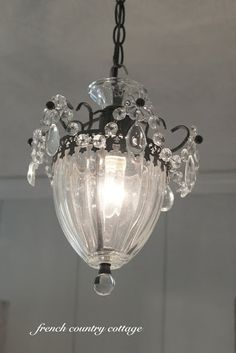 FRENCH COUNTRY COTTAGE: A Little Refresh  hanging light - a little bit of pretty for the bedroom