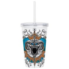 Future Imaging Designs: Skull Horns Blue Wings Acrylic Double-Wall Tumbler: Horned skull with blues eyes, blue wings opening in a circle of orange flames Blue Wings, Drinkware, Horns, Tumbler, Skull, Good Things, Mugs, Future, Gifts