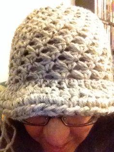 Tan crocheted handmade hat with brim
