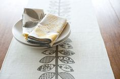 Gray Double Vine Hand Printed Table Runner, White Linen