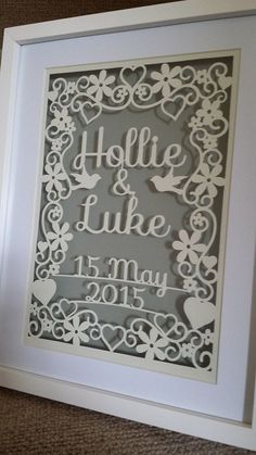 Personalised wedding papercutting template by LittlePaperDragon