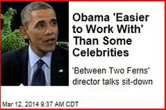 """Latest News:  Obama 'Easier to Work with' Than Some Celebrities.  What's it like to direct the leader of the free world as he's hit with uncomfortable interview questions from a """"short, fat"""" guy who smells """"like Doritos""""?  Get all the latest news on your favorite celebs at www.CelebrityDazzle.com!"""