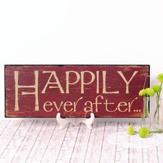 Cartel Happily Ever After de madera