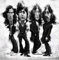 Caricatura The Beatles Foto Beatles, Beatles Art, The Beatles, Funny Caricatures, Celebrity Caricatures, Ringo Starr, Cartoon Faces, Funny Faces, Rock And Roll