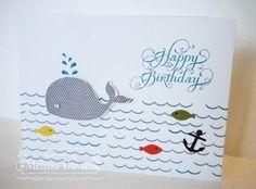 Oh, Whale by Melissa Davies @ rubberfunatics Kids Birthday Cards, Birthday Bash, Oh Whale, Nautical Cards, Ink Stamps, Kids Cards, Stampin Up Cards, Paper Crafting, Handmade Cards