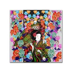 "Trademark Art ""Anime Geisha and Pulghitas"" by Miguel Paredes Painting Print on Wrapped Canvas Size:"