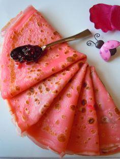 Crêpes roses pour la chandeleur, original ! #chandeleur #original