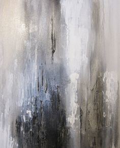 40 x 30 Abstract Painting White Gold Black door ArtByCornelia