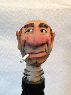Hand Carved Cowboy Head Bottle Stopper Handmade by RWKWoodcarving