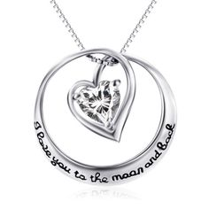 925 Sterling Silver Circle Heart Moon and Back Necklace – Vanika Jewelry