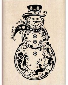 Inkadinkado - Wood Mounted Stamp - Snowman :)-Wood stamp size: x Christmas Decals, Christmas Swags, Christmas Wood, Christmas Crafts, Xmas, Wood Burning Crafts, Wood Burning Patterns, Wood Burning Art, Christmas Drawing