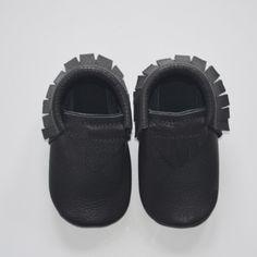 Baby Moccasins in Matte Black