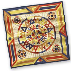 """La Rose des Vents - Yellow  Silk twill scarf, hand rolled, 36"""" x 36"""""""