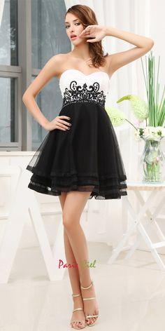 Adorable Sweetheart Black & White Dress