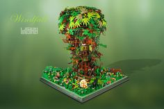 https://flic.kr/p/pYrAEj | Windfall (MOC) | This is my third MOC. -------------------------------- Windfall is Saltcrown's lair. Hidden in the midst of the deep forest, the dark elf warlock's treehouse is only accessible through a small pond, poisonous to any unannounced visitor but vital to the Tree. The camouflaged outpost is guarded by Saltcrown himself and his elven and animal companions. The title comes from the Dead Can Dance instrumental, which I listened in loops while building…
