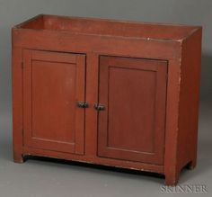 Red-painted Poplar Dry Sink, possibly Pennsylvani