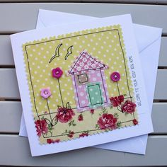 Machine Embroidery New Home Card - Handmade Original Textile - Machine Embroidered - Pretty Pink House - Personalised Insert - Welcome to your cosy new home - Fabric Cards, Fabric Postcards, Embroidery Cards, Free Motion Embroidery, Freehand Machine Embroidery, Free Machine Embroidery, Hand Made Greeting Cards, Making Greeting Cards, New Home Cards
