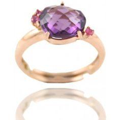 Sortija Piedra Amatista Y Circonitas Plata/Oro Rosa