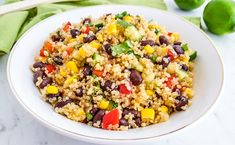 Southwest Quinoa Salad is simple and delicious! This easy quinoa black bean salad recipe is made with tomatoes, corn and other flavorful ingredients. Quinoa Salad Recipes Easy, Veggie Recipes, Healthy Recipes, Quinoa Recipe, Quiche Recipes, Veggie Food, Healthy Food, Southwest Quinoa Salad, Black Bean Salad Recipe