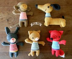 Assorted crochet animal friends for the little ones. Cute!