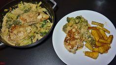 """Heute gibt es wieder ein leckeres Gericht mit Hähnchenbrust, welches ich am Abend zubereitet habe…sozusagen als kleines """" leichte"""" Abendessen…Beilagen können wieder nach Wun…"""