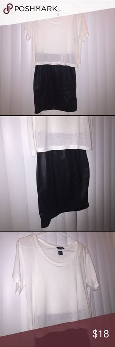 H&M Black and White Dress Faux Leather New without tags. EUR 32 US 2. Shell upper part 100% viscose Shell bottom part 100% polyester Lining 95%cotton 5%elastane. H&M Dresses Mini