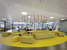 Indoor lounging in a public space: the lobby of the new library of TU Eindhoven by ector hoogstad architecten (metaforum at TU eindhoven)