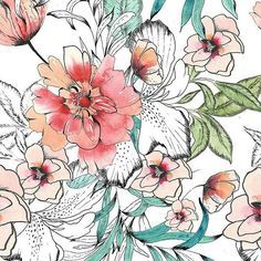 Ma_606 by Merve Aruta – Online Textile Print Design Studio Highlights – December 2016 – Hand drawn & painted watercolour design with second color variant #Womenswear #Floral #Interiors #Home #Swimwear #Decorative #Floral #Flowers #Handdrawn #Handpainted #Homewear #Interiors #Plants #Summerfloral #Swimwear #Watercolour #Womenswear @ventusdesignstudio