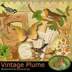 """Скрап-набор """"Vintage plume"""" (addon)"""