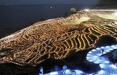 lighting art of rice fields in Wajima, Japan@<輪島>「まるで生きている」棚田に浮かぶ ろうそく3万本