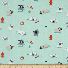 Michael Miller Pugs & Kisses Seafoam from @fabricdotcom  From Michael Miller, this cotton print is perfect for quilting, apparel and home decor accents. Colors include seafoam, grey, black, taupe, white and red.